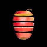 Fliegenapfel Geschnittener roter Apfel lokalisiert auf schwarzem Hintergrund Leichtsinnfrucht, die in die Luft schwimmt Stockbild