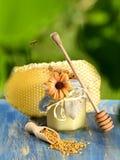Fliegenbiene über Glas voll köstlichem Honig-, Bienenwaben- und Bienenblütenstaub Lizenzfreies Stockbild