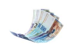 Fliegende Anmerkung des Schweizer Franc stockfoto