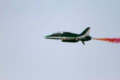 Fliegende Anzeige und aerobatic Show von saudischen Falken in Bahrain-International Airshow Stockbild