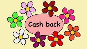 Fliegende Blumen um Aufschriftbargeld zurück Video 4k für eine Werbung Clip für die, die eine Garantie beim Kaufen anbieten stock abbildung