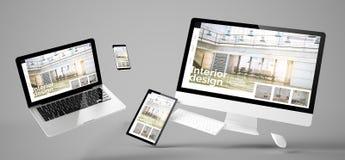 fliegende entgegenkommende Website der Innenarchitektur der Geräte lizenzfreies stockbild