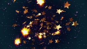 Fliegende goldene Sterne stock footage