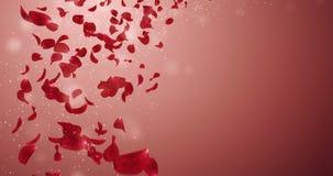 Fliegende romantische rote Rose Flower Petals Falling Placeholder-Schleife 4k stock footage