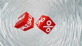 Fliegende rote Würfel mit Aufschriftverkauf und -prozenten im weißen Tunnel lizenzfreie abbildung