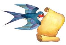 Fliegende Schwalbe ist in seinem Schnabel ein Blatt Papier stock abbildung