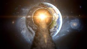 Fliegender Asteroid, Meteorit zur Erde Weibliches Portrait gegen abstrakte Hintergründe armageddon stockfotografie