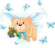 Fliegender blauer Teddybär Stockfotos