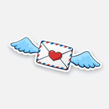 Fliegender geschlossener Umschlag des Aufklebers mit Wachsherzen und -flügeln stock abbildung