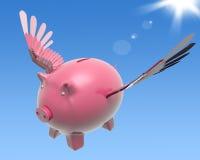 Fliegender Piggy Show-hoher Wohlstand und Investition vektor abbildung