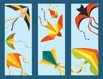 Fliegendrachenschlangen-Schlangendrache scherzt Sommertätigkeits-Vektorillustration der bunten Karte des Spielzeugs im Freien Stockfotografie