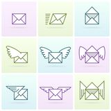 Fliegene-mail-Ikonensatz Lizenzfreies Stockfoto