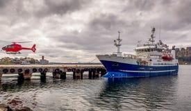 Fliegenfischen im nördlichen Polarkreise Stockfotografie