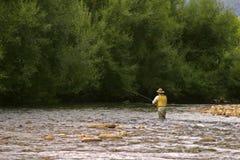 Fliegenfischen im ruhigen Wasser Lizenzfreie Stockfotos
