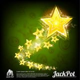 Fliegengoldstern mit kleinem Sternendstück und glänzenden Effekten auf abstraktes Grün Stockbild