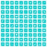 100 Fliegenikonen stellten Schmutz blau ein Lizenzfreies Stockfoto