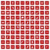 100 Fliegenikonen stellten Schmutz rot ein Lizenzfreies Stockfoto