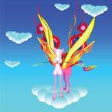 Fliegenkatze sitzt auf der Wolke Stockfotografie