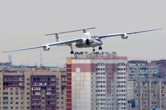 Fliegenlabor Myasischev M-55 RA-55204 gezeigt über Stadt bei 100 Jahren Jahrestag von russischen Luftwaffen in Zhukovsky Lizenzfreie Stockfotografie