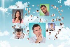 Fliegenporträts von Geschäftsleuten Lizenzfreie Stockfotografie