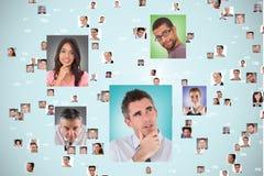 Fliegenporträts von Geschäftsleuten Stockfoto