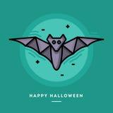 Fliegenschlägerikone, dünne Linie Halloween-Fahne des flachen Designs Lizenzfreie Stockbilder