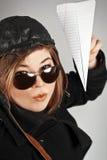 Flieger Girl Paper Plane Lizenzfreie Stockfotos
