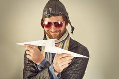 Flieger Man Paper Plane Lizenzfreies Stockfoto