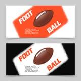 Flieger oder Netzfahnendesign mit Ballikone des amerikanischen Fußballs Lizenzfreie Stockfotos