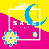 Flieger, Verkauf, Rabatt, Grußkarte, Aufkleber oder Fahnengelegenheit von Ramadan Kareem und von Eid Mubarak Celebration lizenzfreies stockbild