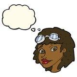 Fliegerschutzbrillen der glücklichen Frau der Karikatur tragende mit Gedankenblase Stockfoto