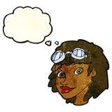 Fliegerschutzbrillen der glücklichen Frau der Karikatur tragende mit Gedankenblase Stockbilder
