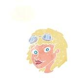 Fliegerschutzbrillen der glücklichen Frau der Karikatur tragende mit Gedankenblase Stockfotografie