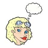 Fliegerschutzbrillen der glücklichen Frau der Karikatur tragende mit Gedankenblase Stockbild