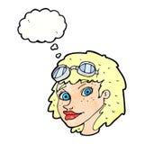 Fliegerschutzbrillen der glücklichen Frau der Karikatur tragende mit Gedankenblase Lizenzfreies Stockfoto