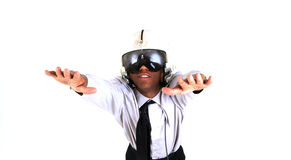 Flier. Man in flight helmet daydreaming Royalty Free Stock Photo