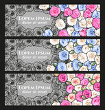 Flier with roses. Vector vintage flier with colorful and monochrome roses royalty free illustration