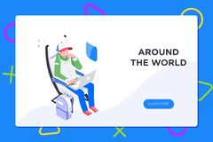 Flier traveler using onboard internet provided by airline.Man using laptop in cabin seat while traveling by airplane. Illustration royalty free illustration
