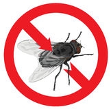 Flies banned. Sign prohibited. Illustration Stock Photo