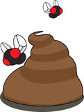Flies Buzzing Around Poo Vector Illustration Stock Image