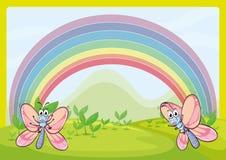 Flies and rainbow Stock Image