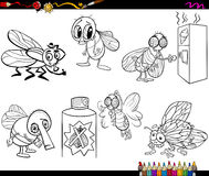 Flies set cartoon coloring page Stock Photo