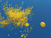 Flies in the sky yellow balls Stock Photo