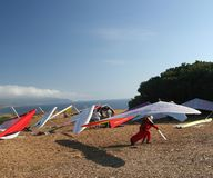 After the Flight. Hang gliders and their equipment Royalty Free Stock Images