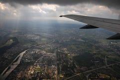 Flight. View through the plane window Royalty Free Stock Image