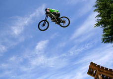 Flight. A mountain biker takes off during a contest in Whistler, BC Stock Image