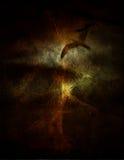 Flight. Grunge Composition light reveals bird in flight Royalty Free Stock Images