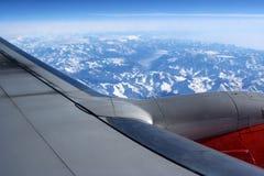 Flight. Alps from above stock photo