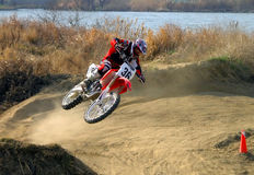 The flight. A very dynamic scene from a motocross competition Stock Photo