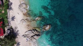 Flight above beautiful beach in thailand, Aerial stock video footage